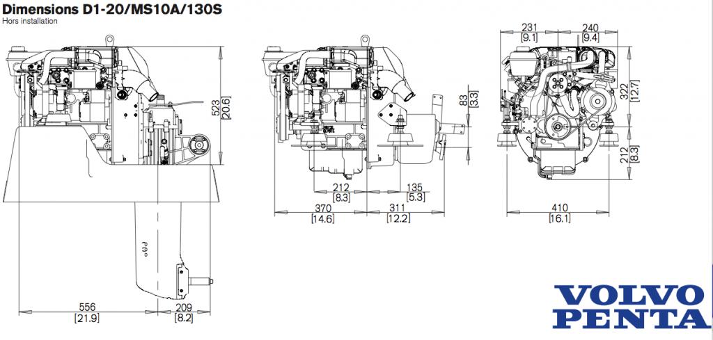 Plan d'encombrement moteur VOLVO PENTA D1-20